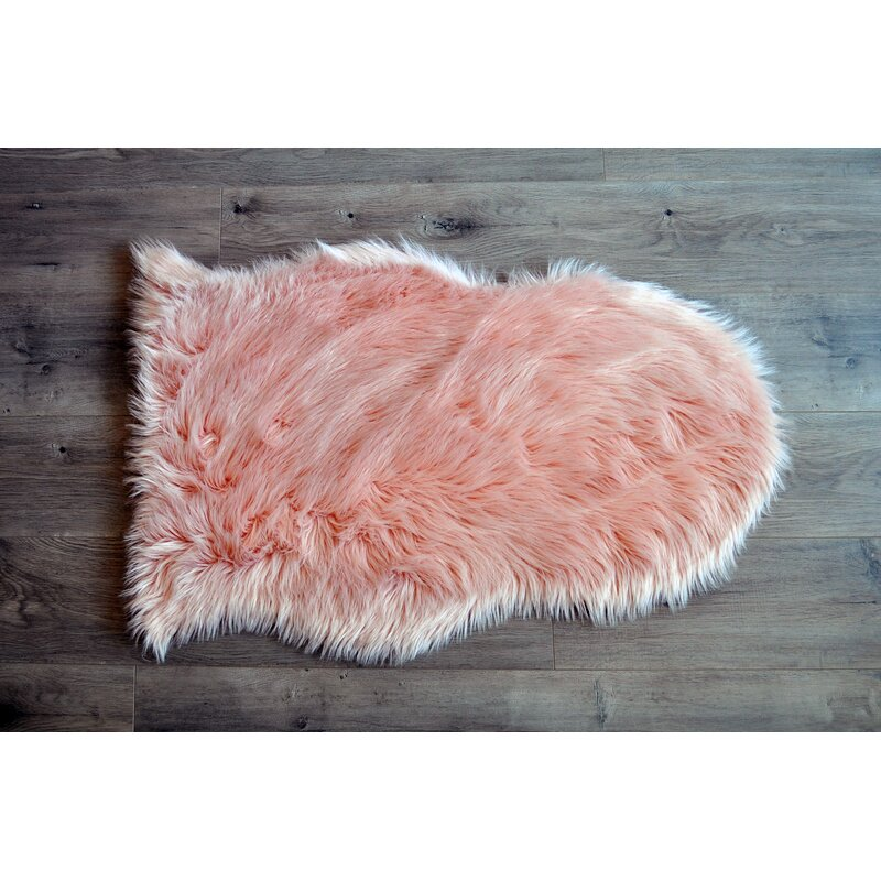 Kroma Carpets Faux Sheepskin Blush Area Rug & Reviews