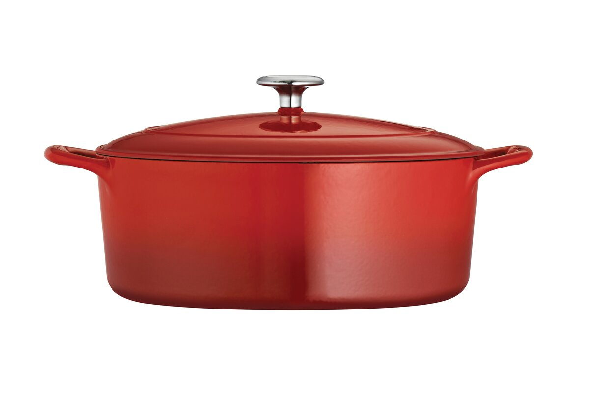 gourmet enameled cast iron 7 qt enameled cast iron oval dutch oven