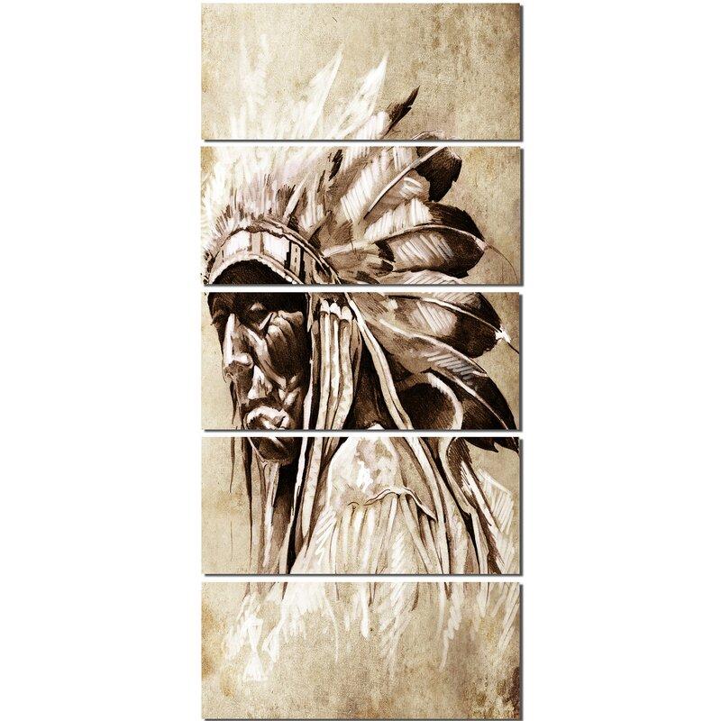 Designart Vintage Style Indian Head Tattoo 5 Piece Wall Art On
