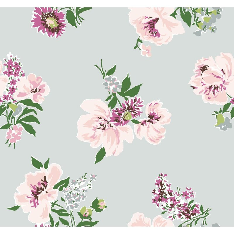"Madcap Cottage Isleboro Eve 33' L x 18"" W Floral Wallpaper Roll"