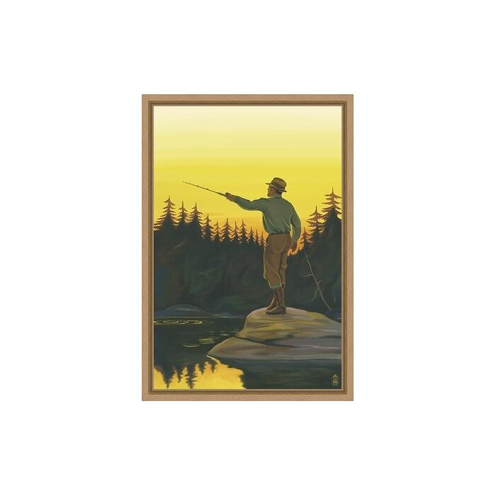 Ashton Wall Décor LLC Wildlife and Lodge \'Fly Fishing Scene\' Framed ...