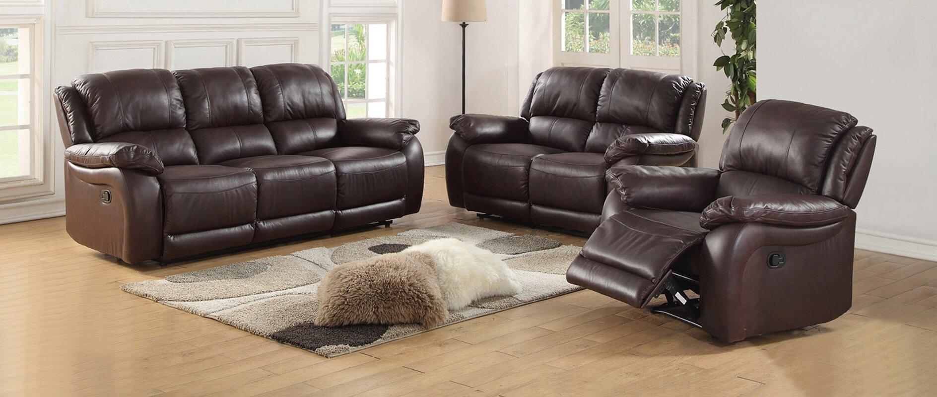 three piece living room set. Juan 3 Piece Leather Living Room Set Latitude Run  Reviews Wayfair
