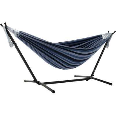 Beachcrest Home Dorinda Double Hammock with Stand Stand Color: Black, Color: Blue Lagoon