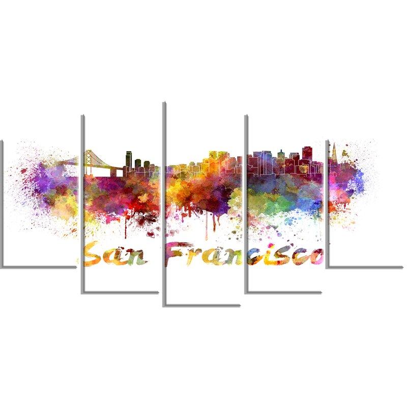 DesignArt \'San Francisco Skyline\' 5 Piece Wall Art on Wrapped Canvas ...
