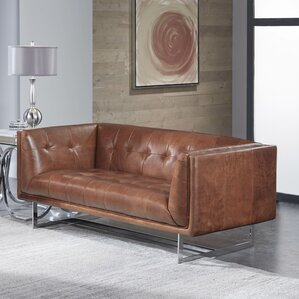 Gulielma Leather Chesterfield Loveseat by 17..