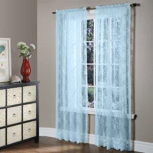 Bretton Bridal Lace Nature/Floral Sheer Rod Pocket Single Curtain Panel
