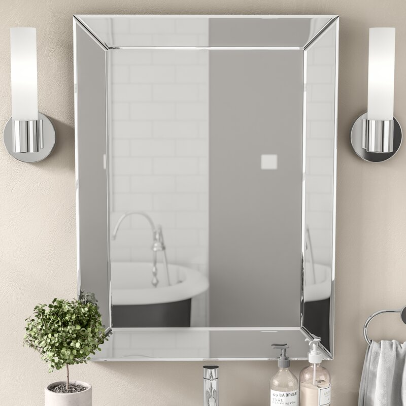 silver bathroom mirror rectangular wade logan rectangle silver vanity wall mirror amp reviews 20358 | Rectangle Silver Vanity Wall Mirror