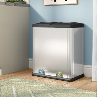 Stainless Steel 15.85 Gallon Step On Multi Compartments Recycling Bin