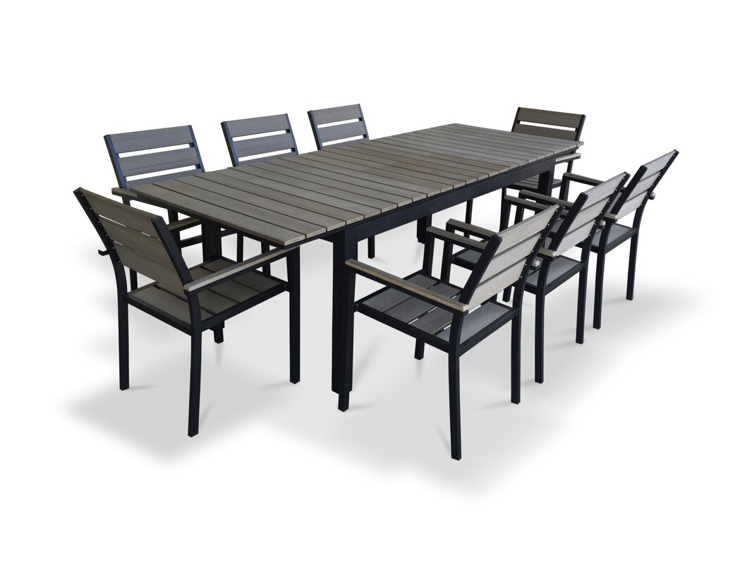 Delightful 9 Piece Extendable Outdoor Dining Set