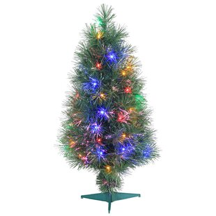 Multi Style Fiber Optic 3u0027 Green Artificial Christmas Tree With 50  Multi Color LED Lights With Stand