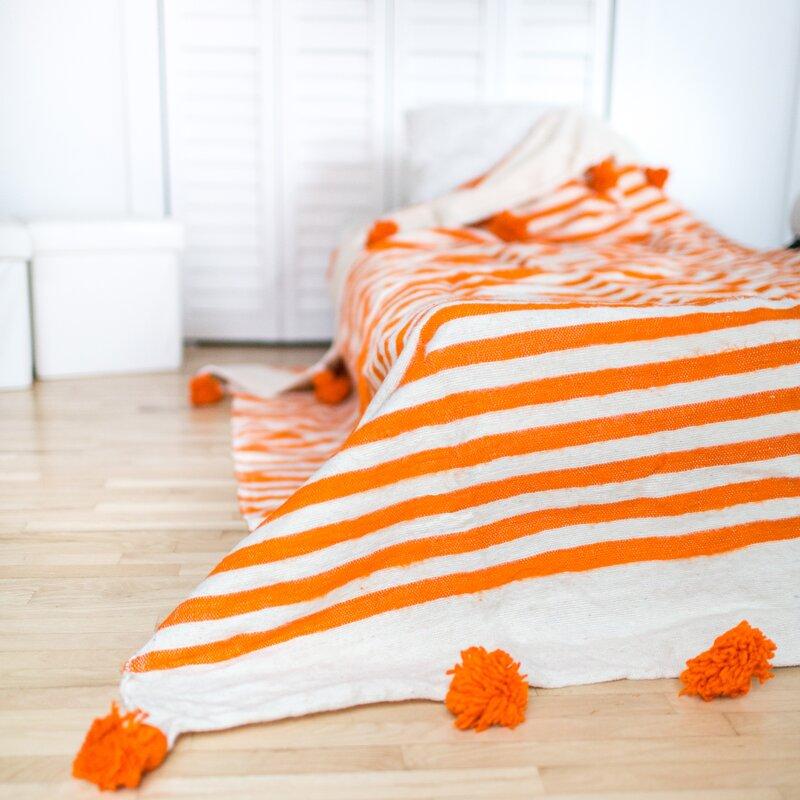Indigo&Lavender Pom Pom Wool Blanket