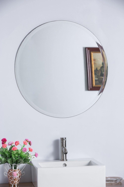 Bellaterra Home Round Frameless Bathroom/Vanity Wall Mirror ...