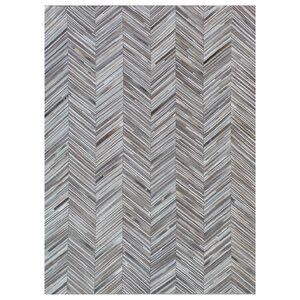 Natural Hide, Leather, Gray/Ivory/Multi (8'x11') Area Rug