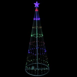 show cone christmas tree and yard lighted display - Lighted Christmas Tree Lawn Decoration