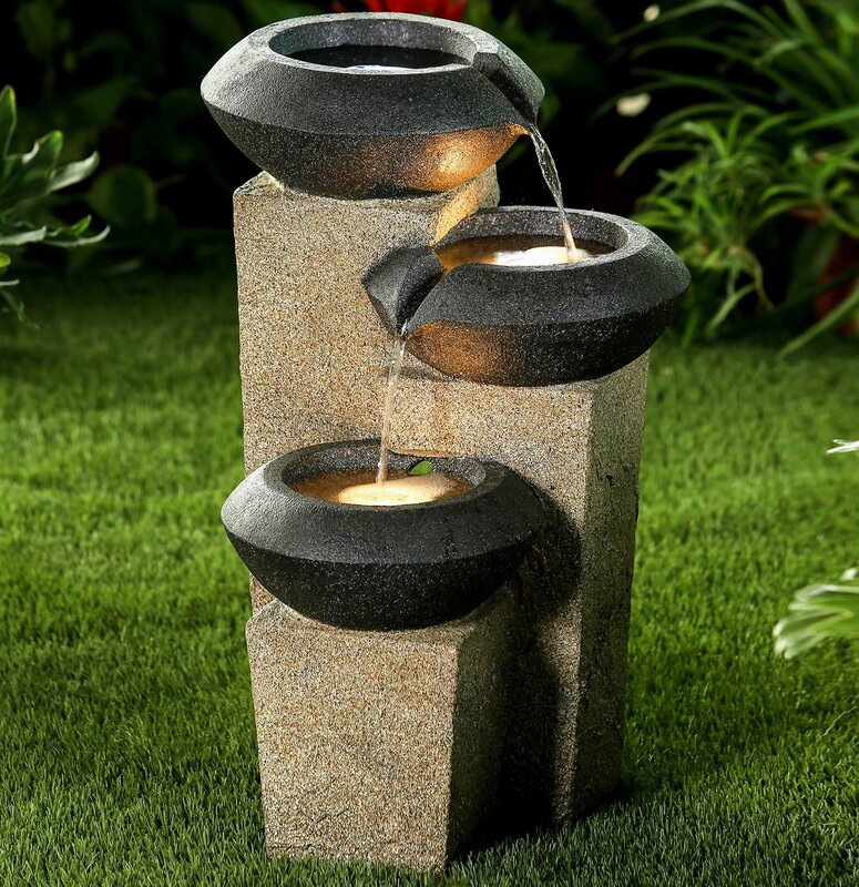 Charmant Resin Three Tiered Modern Style Illuminated Water Fountain With LED Light