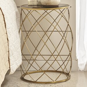 Milburn Convex Round Metal End Table With Glass Top