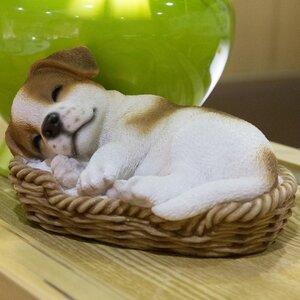 Wicker Basket Jack Russel Terrier Puppy Statue