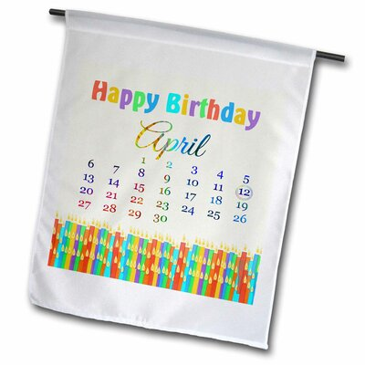 Birthday On April 12th Candles With Flames Polyester 16 X 1