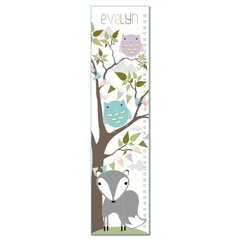 Personalized Fox And Owl Tree Growth Chart