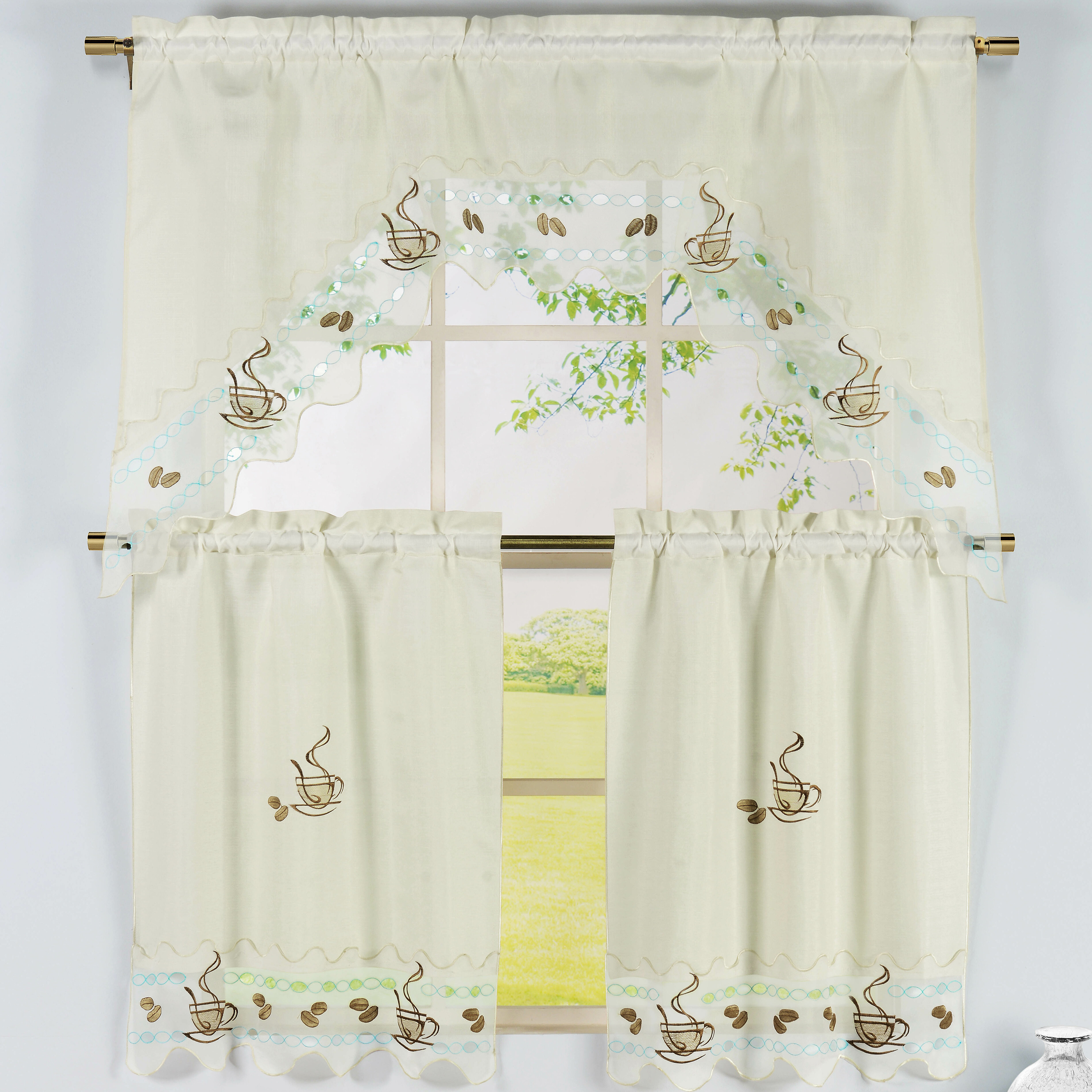 Window Elements Coffee Talk 3 Piece Embroidered Kitchen Valance and ...