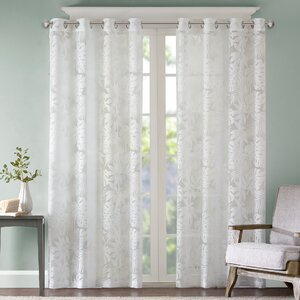 Gouverneur Nature/Floral Sheer Tab Top Single Curtain Panel