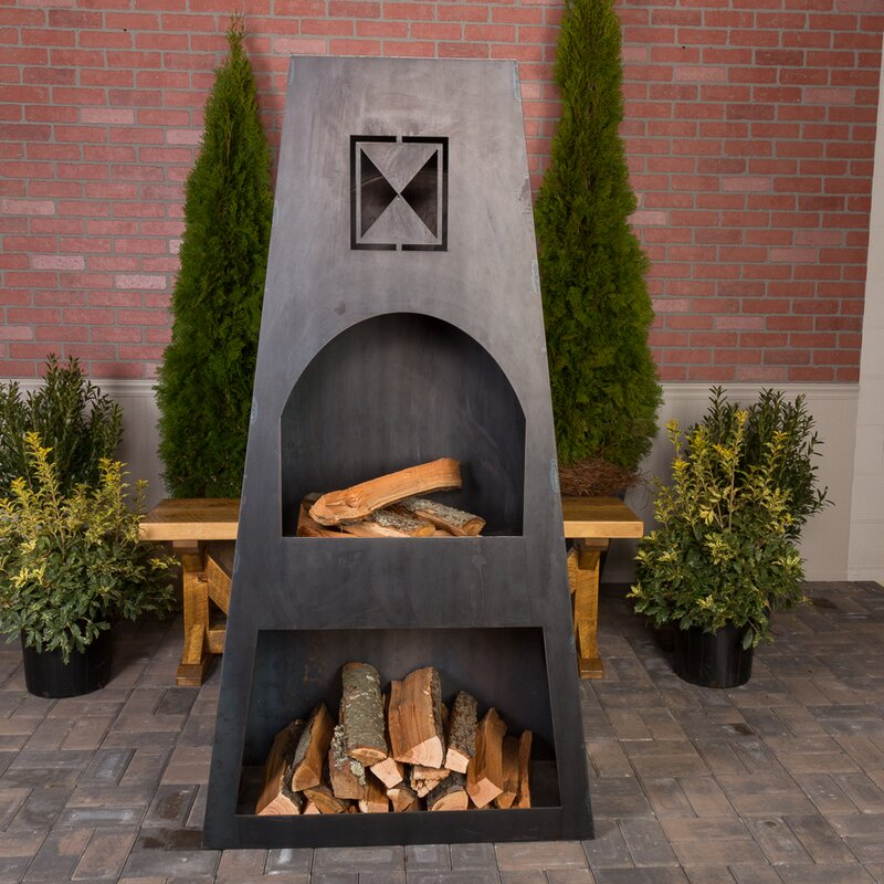 Ember Haus Fire Knight Steel Wood Burning Outdoor Fireplace Wayfair