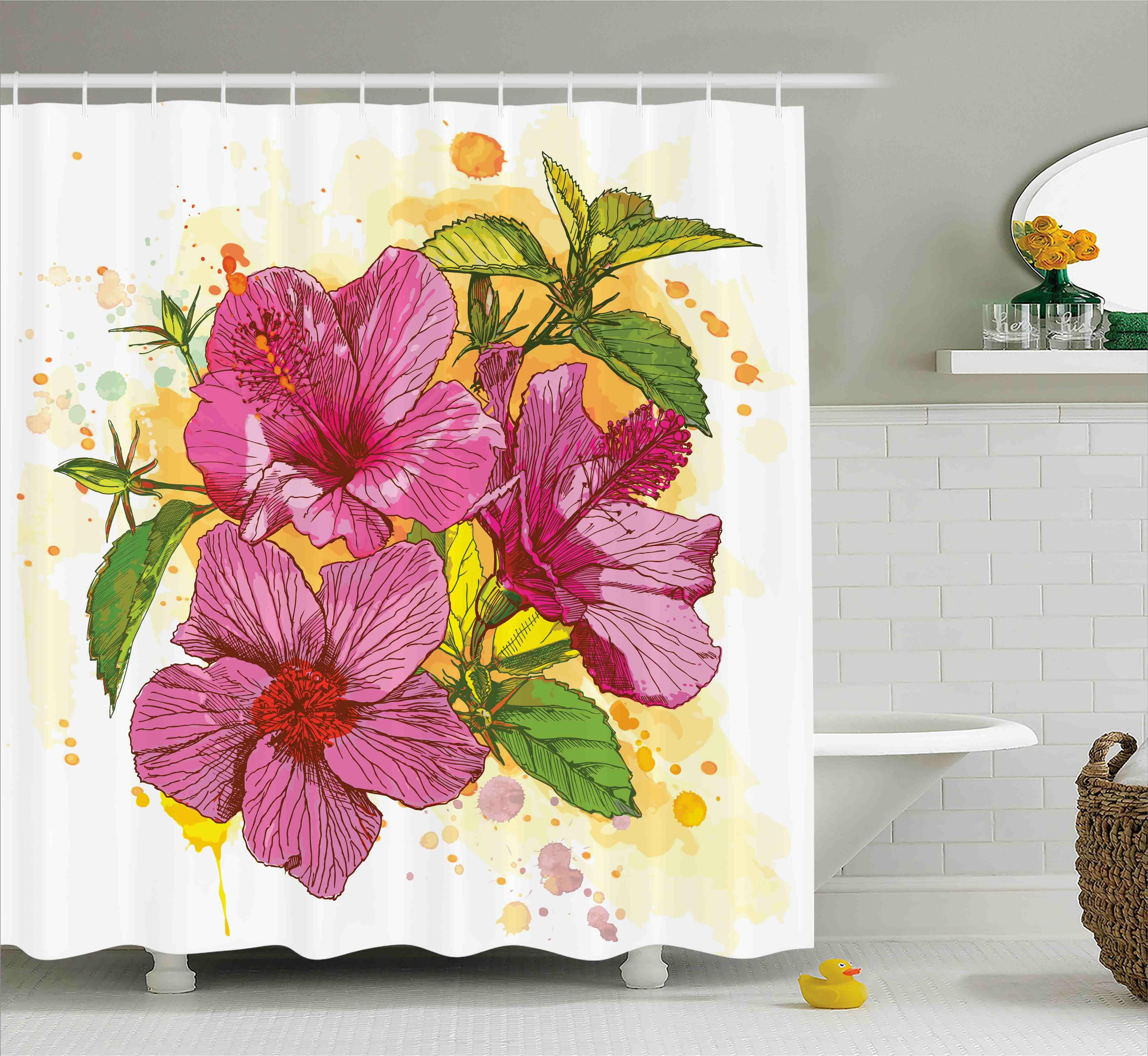 Ebern designs adrienne vibrant hibiscus flower bouquet exotic ebern designs adrienne vibrant hibiscus flower bouquet exotic elegance watercolor art shower curtain wayfair izmirmasajfo