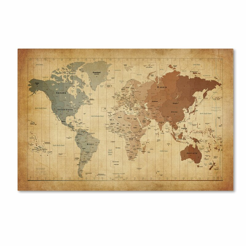 Trademark art time zones map of the world by michael tompsett time zones map of the world by michael tompsett graphic art on wrapped canvas gumiabroncs Choice Image