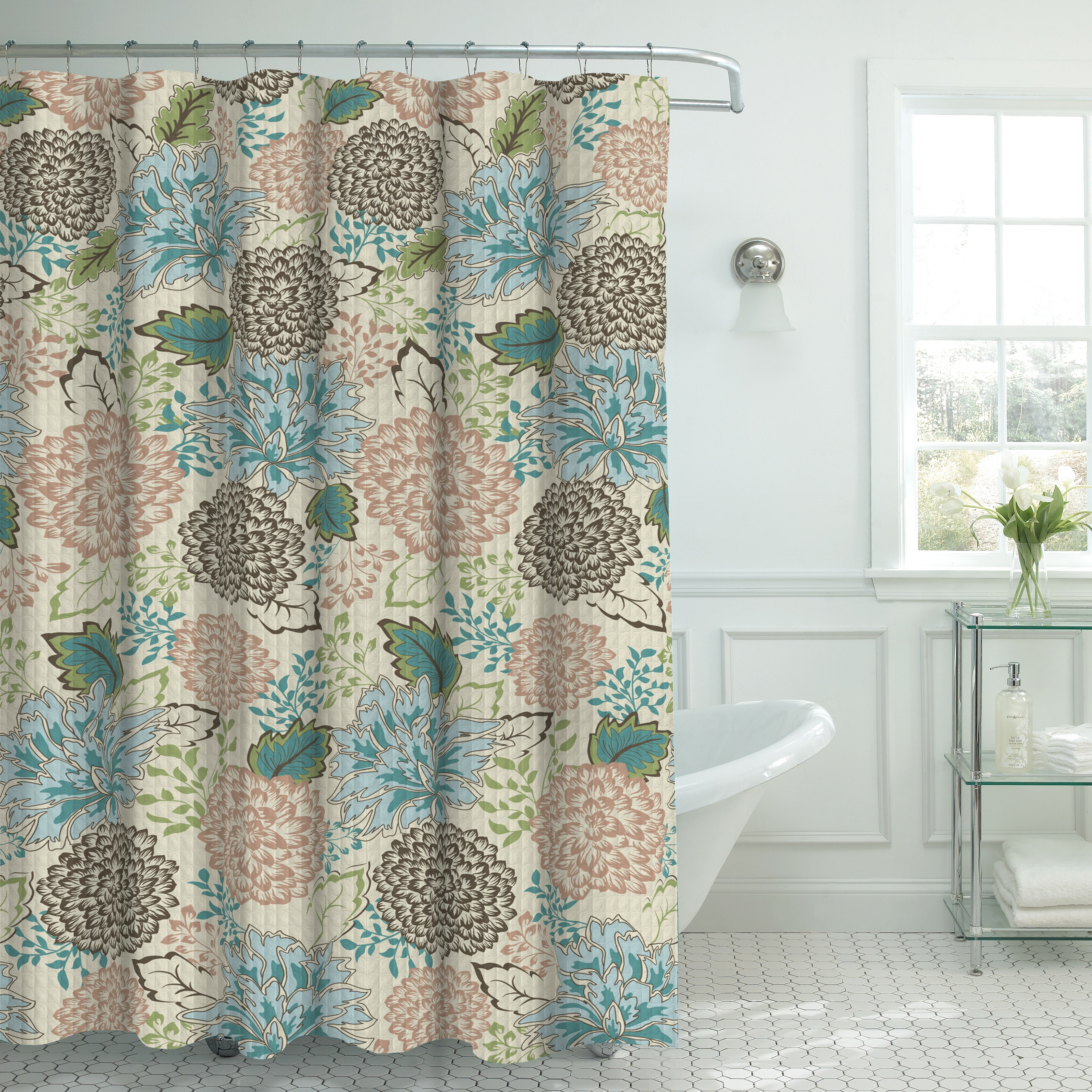 Bath Studio Oxford Fabric Weave Textured Floral Shower Curtain Set U0026  Reviews | Wayfair
