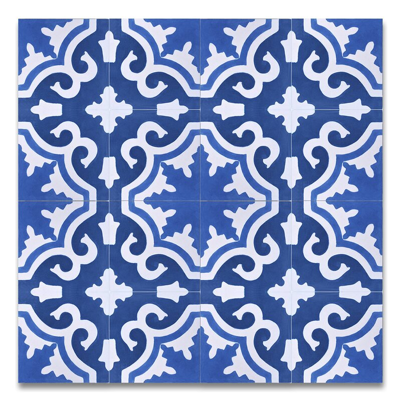 Tanger 8 X Handmade Cement Tile In Blue And White