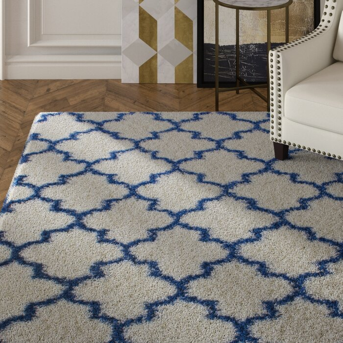 Rosdorf Park Burgess Whiteblue Area Rug Reviews Wayfairca