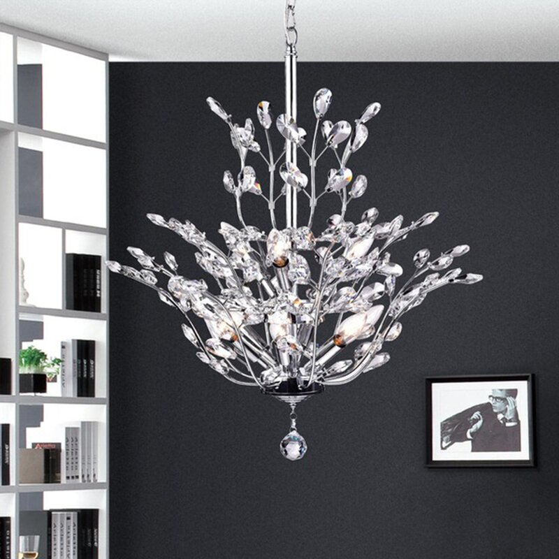Rosdorf Park Brookleigh Leaf Light Candle Style Chandelier - Chandelier leaves crystals