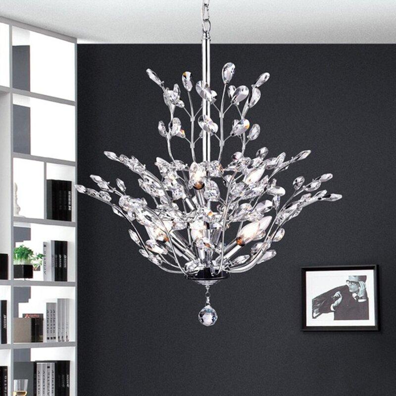 Rosdorf Park Brookleigh Leaf Light Candle Style Chandelier - Chandelier leaves crystals