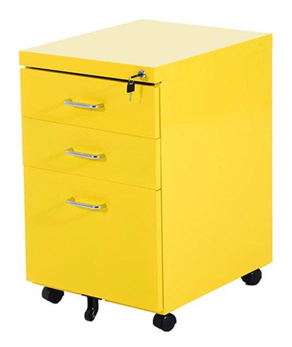 homcom 3 drawer mobile lockable metal filing cabinet & reviews