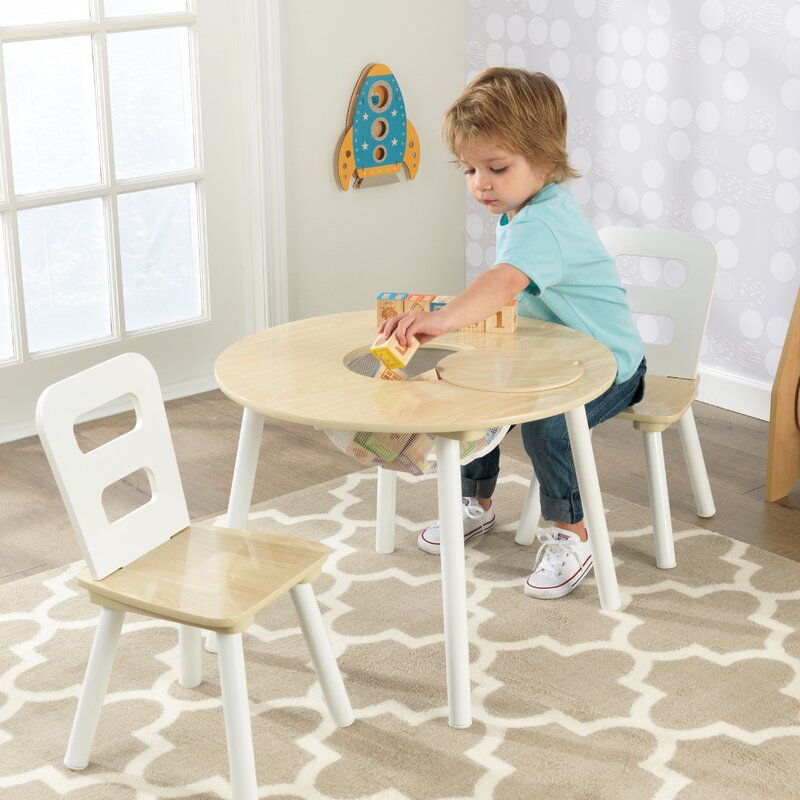 Kid\'s 3 Piece Round Table and Chair Set