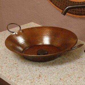 miners pan hammered copper circular vessel bathroom sink