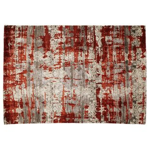 Hand Knotted Brown/Red Rug by Hazelwood Home