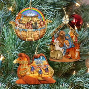 3 piece story of nativity ornaments set - Nativity Christmas Decorations