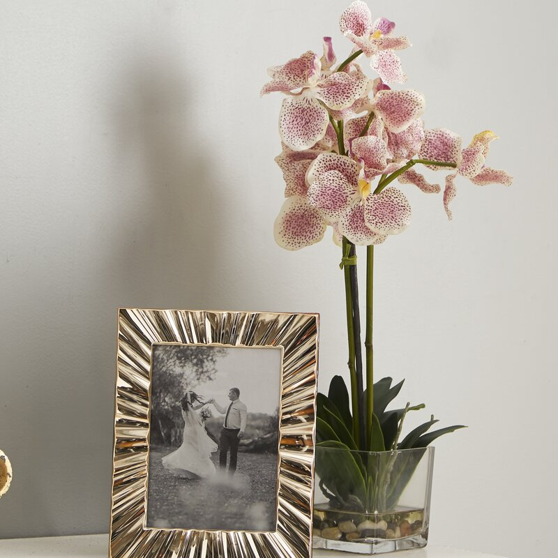 Vanda Silk Orchid Flower With Gl Vase