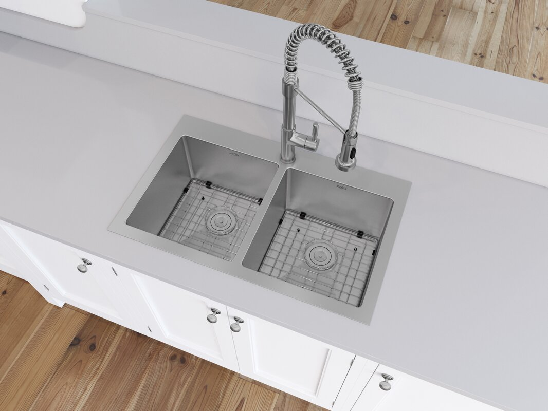 prestige series stainless steel 30   x 19   drop in kitchen sink ancona prestige series stainless steel 30   x 19   drop in kitchen      rh   wayfair com