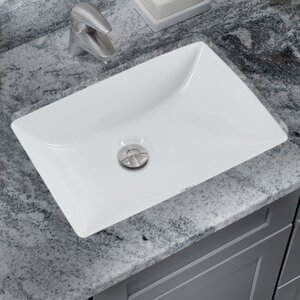 Glazed Rectangular Undermount Bathroom Sink with Overflow