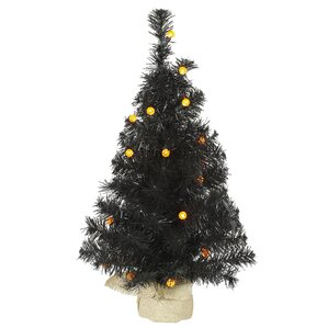 2 black artificial christmas tree with 25 led orange lights - Orange Christmas Tree