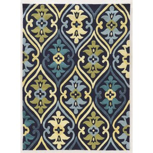 Savanah Damask Hand-Tufted Blue/Green Outdoor Area Rug