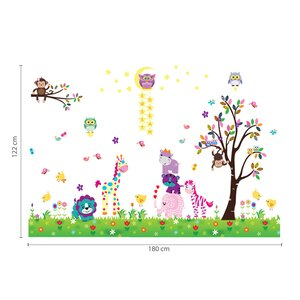 Happy Animal with Owl and Tree Room Wall Sticker
