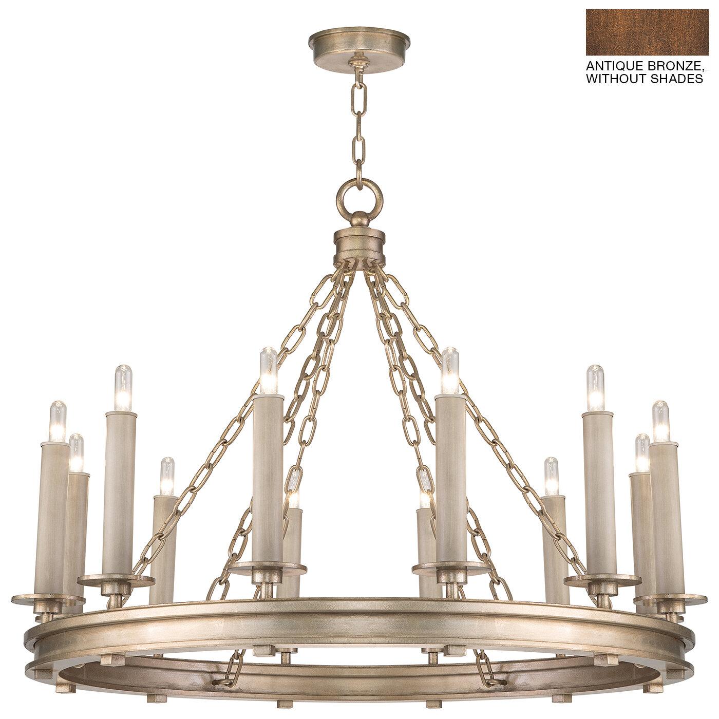Teixeira 12 Light Wagon Wheel Chandelier: Fine Art Lamps Cienfuegos 12-Light Wagon Wheel Chandelier