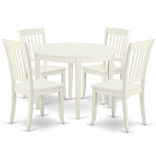 Lacoste 5 Piece Solid Wood Breakfast Nook Dining Set