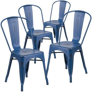 Blue Metal Dining Chairs patio dining chairs - patio chairs & seating | wayfair