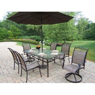 basile 7 piece dining set with umbrella - Patio Table With Umbrella