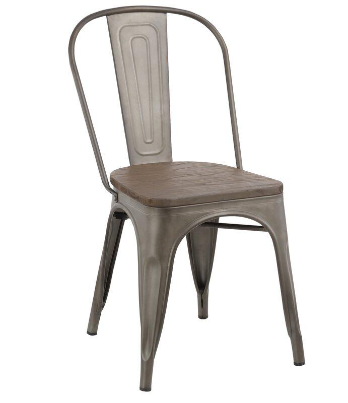 Linneus Industrial Metal Solid Wood Dining Chair