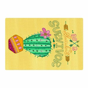 Jane Smith Be a Succulent Survivor Illustration Yellow Area Rug